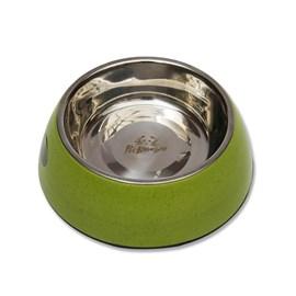 Bebedouro e comedouro canino de bambu e inox verde